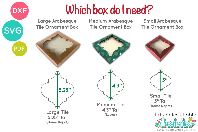 small arabesque tile ornament box svg file for cricut silhouette