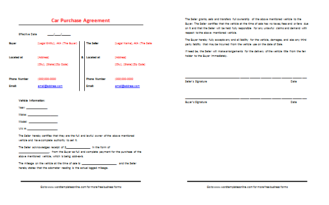 Vehicle Payment Contract Template sale bill of sale sell a – Selling a Car on Payments Contract