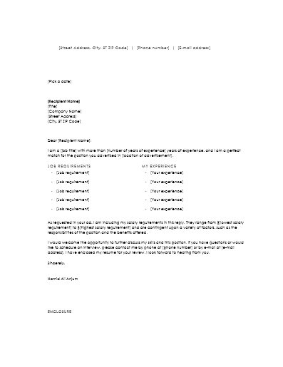 resume cover letter with salary requirements resume employee cover