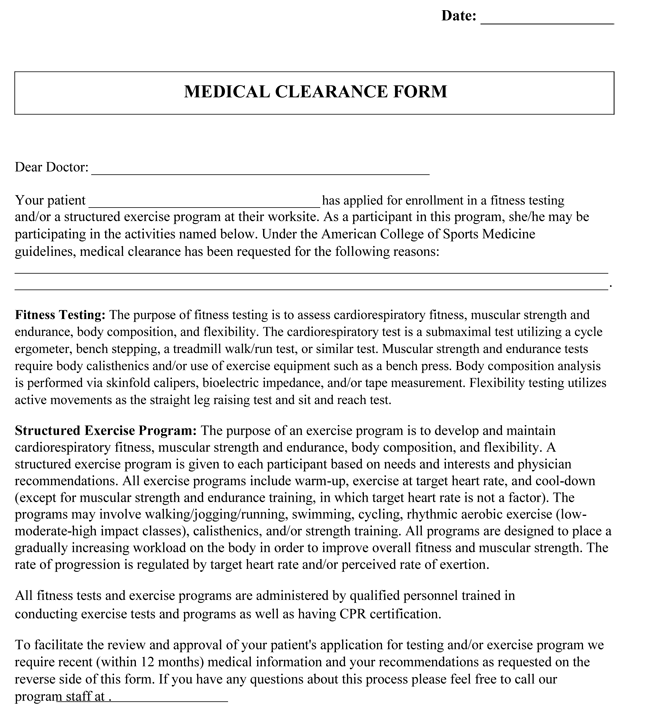 Medical clearance forms best resumes beautiful sample medical clearance form ideas best resume u2013 sample medical form pronofoot35fo Images