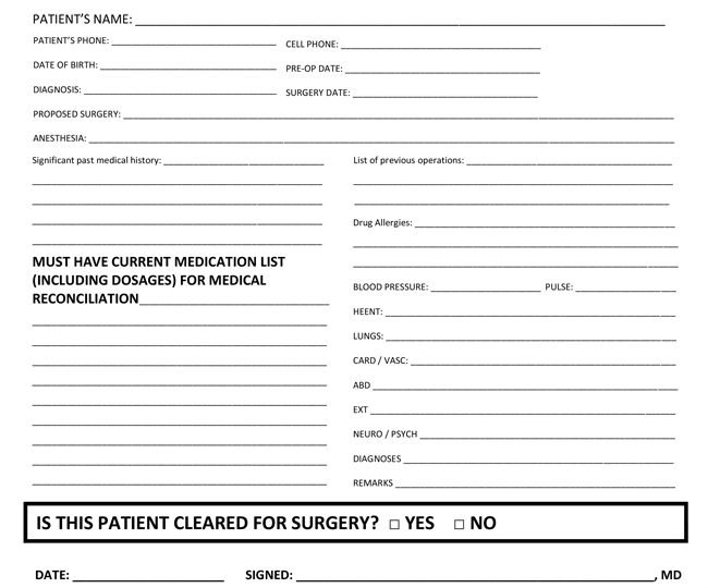 Sample medical clearance letter for dental procedures docoments medical clearance form samples 10 best templates and formats pronofoot35fo Images