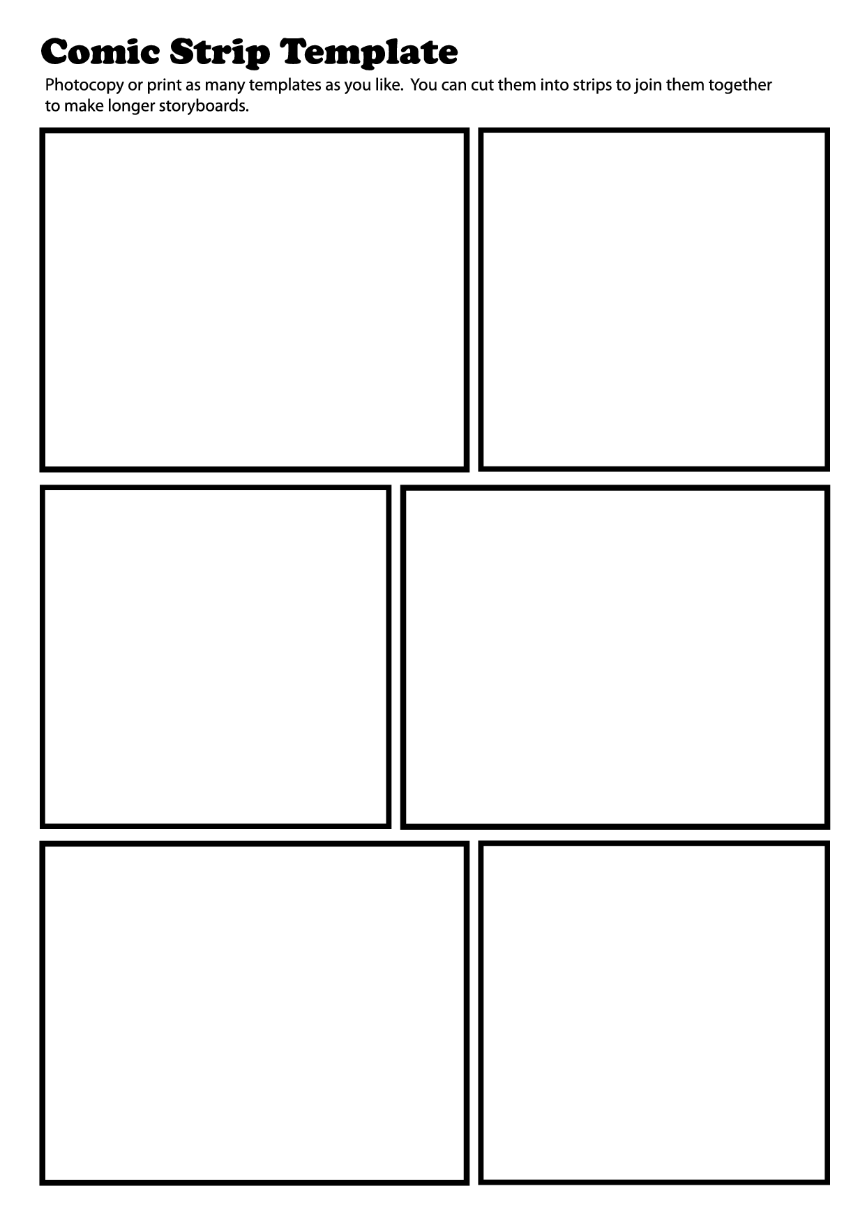 7 Best Images Of Printable Blank Comic Strip Frames