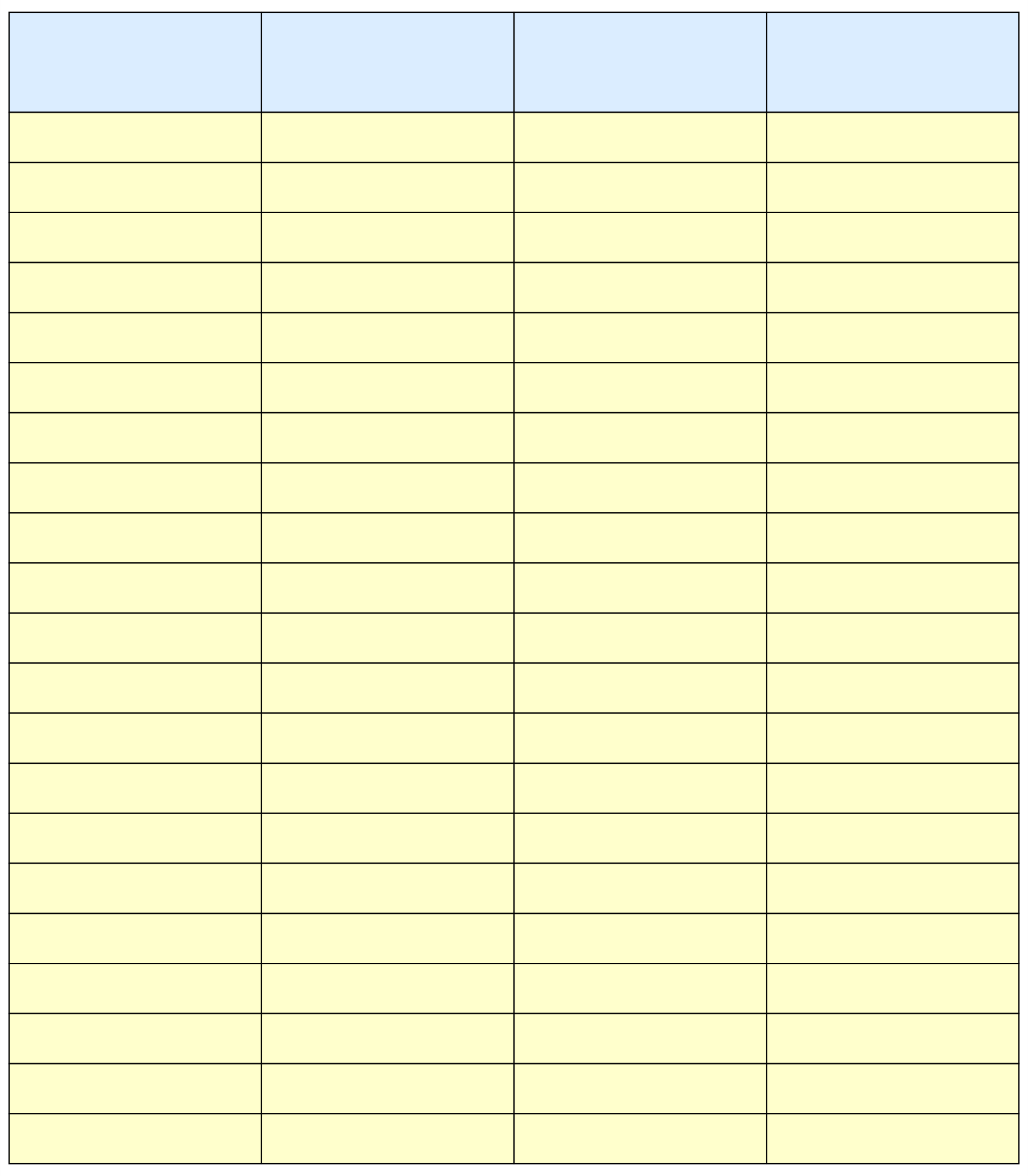 Printable Column Template 5 Columns