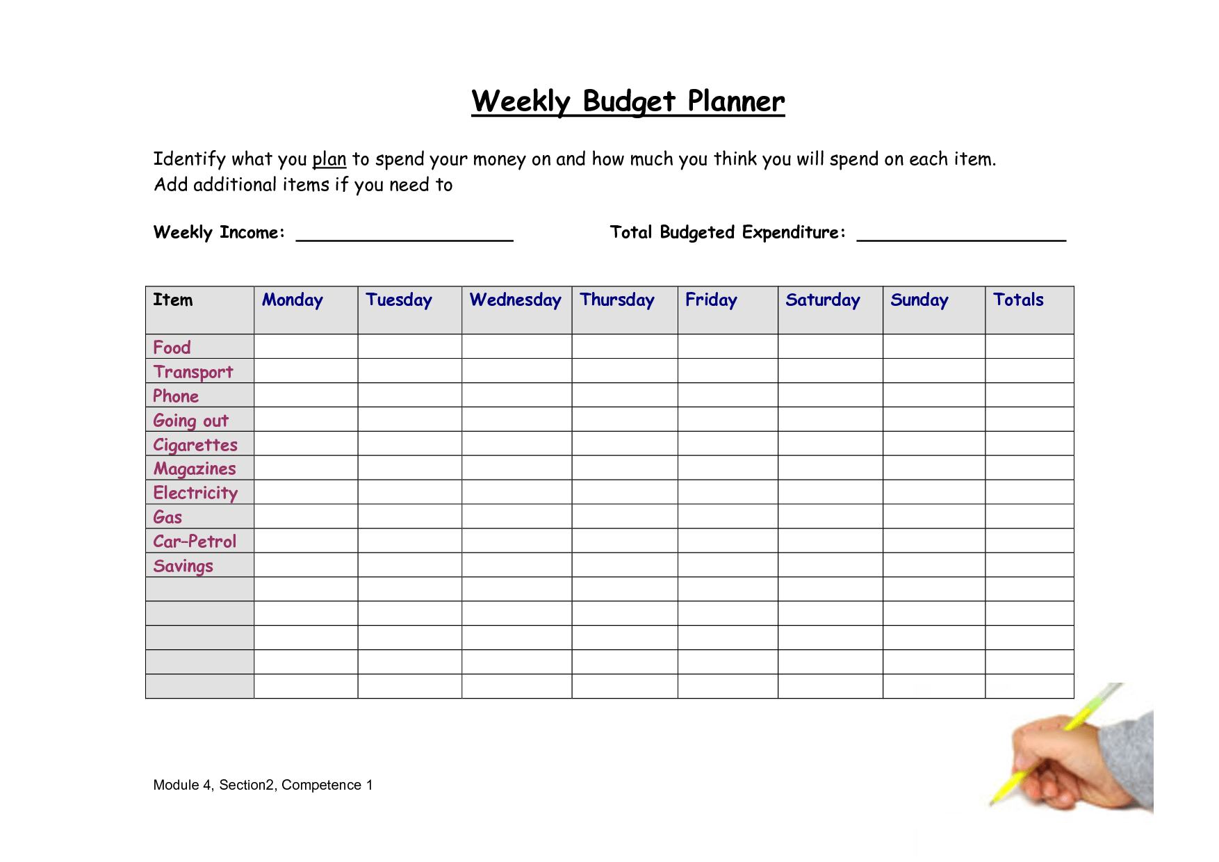 6 Best Images Of Free Printable Weekly Budget Worksheet