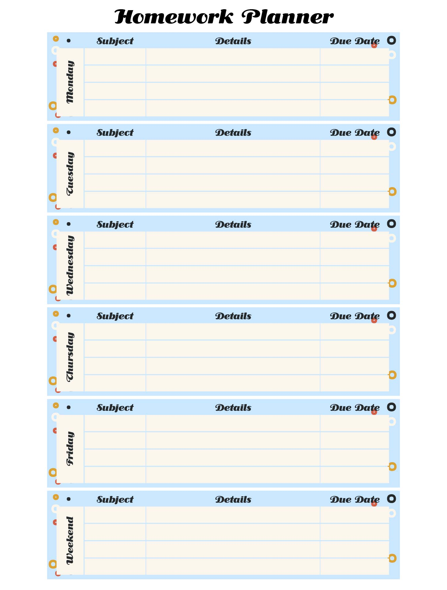 8 Best Images Of Homework Log Printable