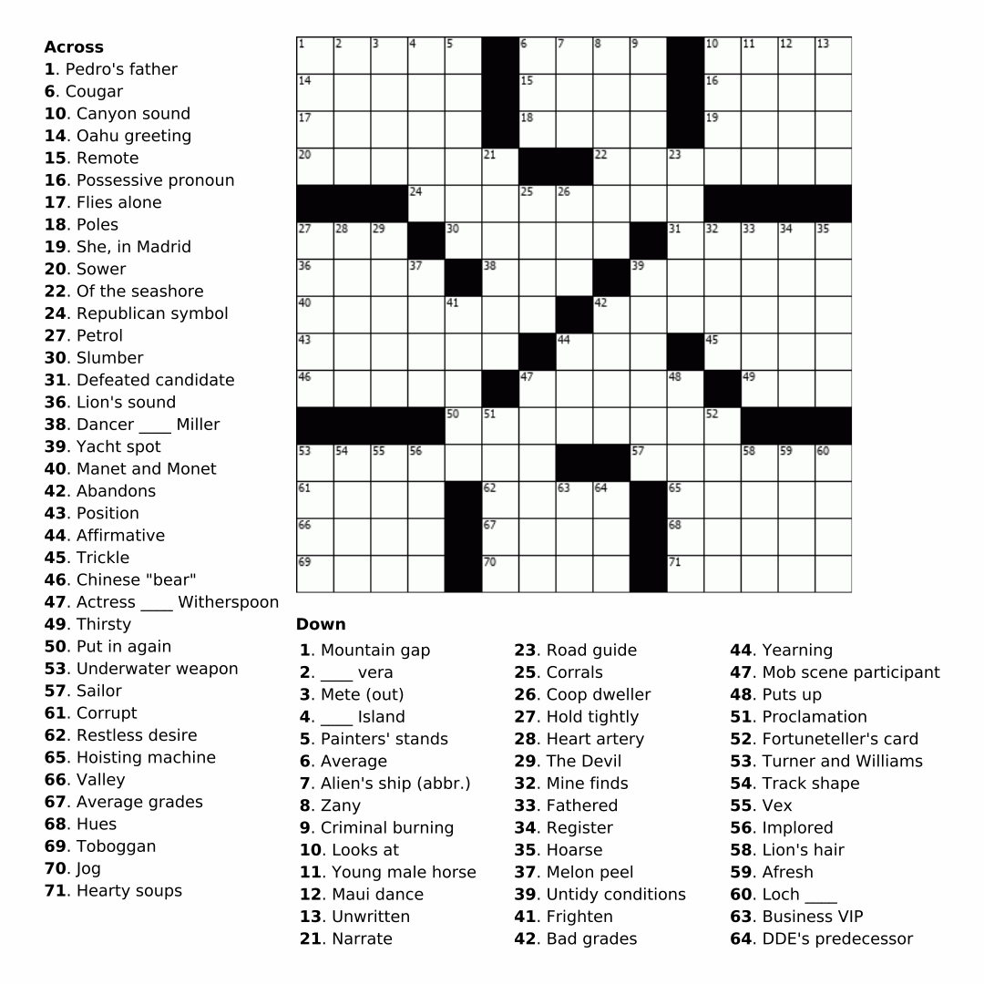 7 Best Images Of Printable Crosswords For Adults
