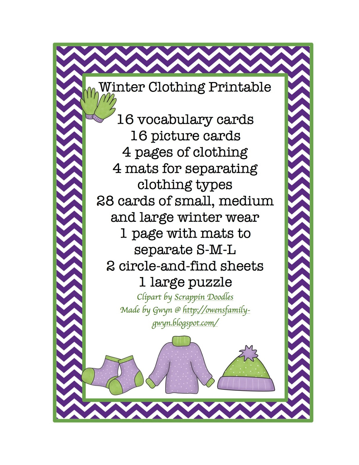 7 Best Images Of Winter Clothing Worksheets Printable