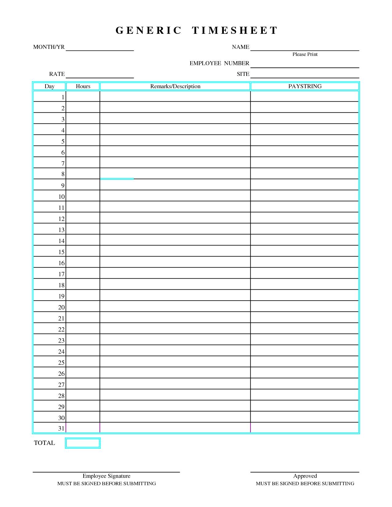 Doc15001030 Time Sheet Printable employee time sheet – Free Printable Proposal Forms