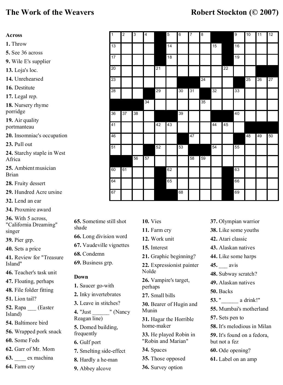 Printable High School Crossword Puzzles