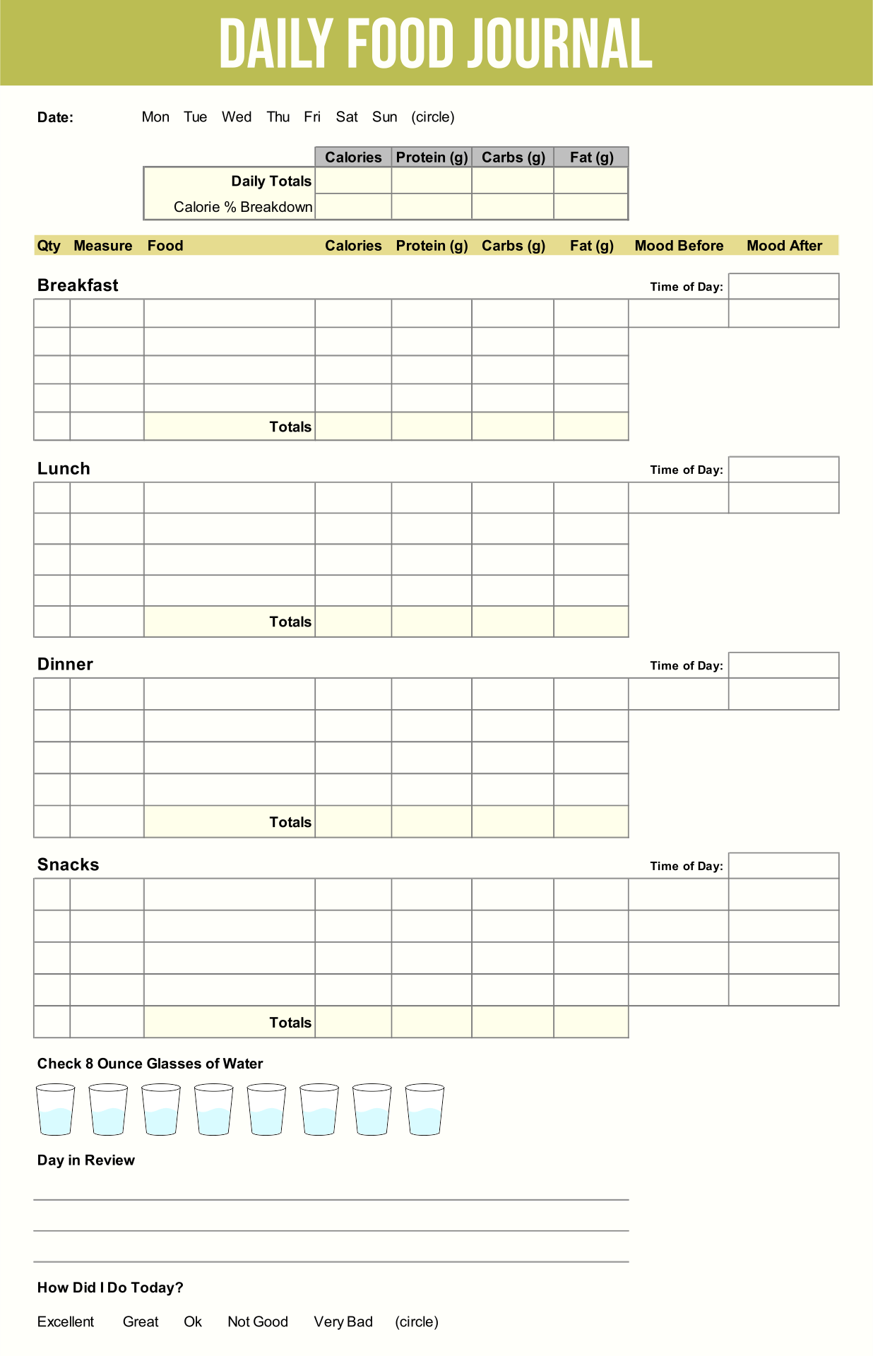 9 Best Printable Food Journal Worksheet