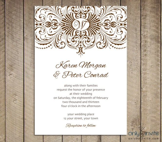 Cool Sky Blue Scheme Printable Wedding Invitation With Oval Shaped Word Es