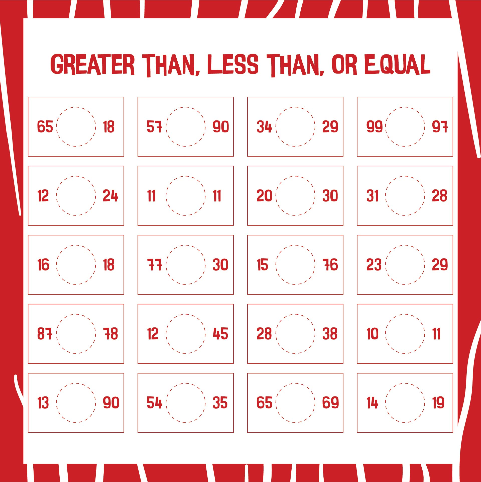 7 Best Images Of Greater Than Less Than Free Printable