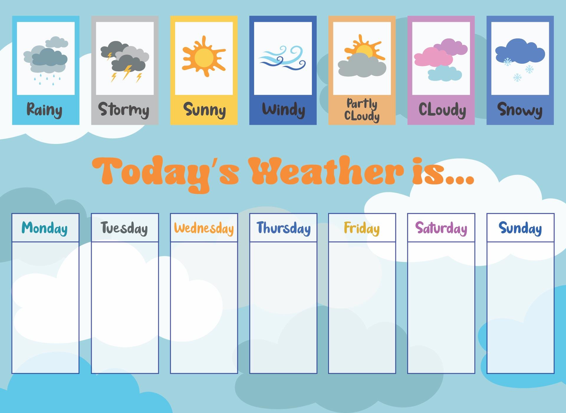 7 Best Images Of Printable Weather Chart For Kindergarten