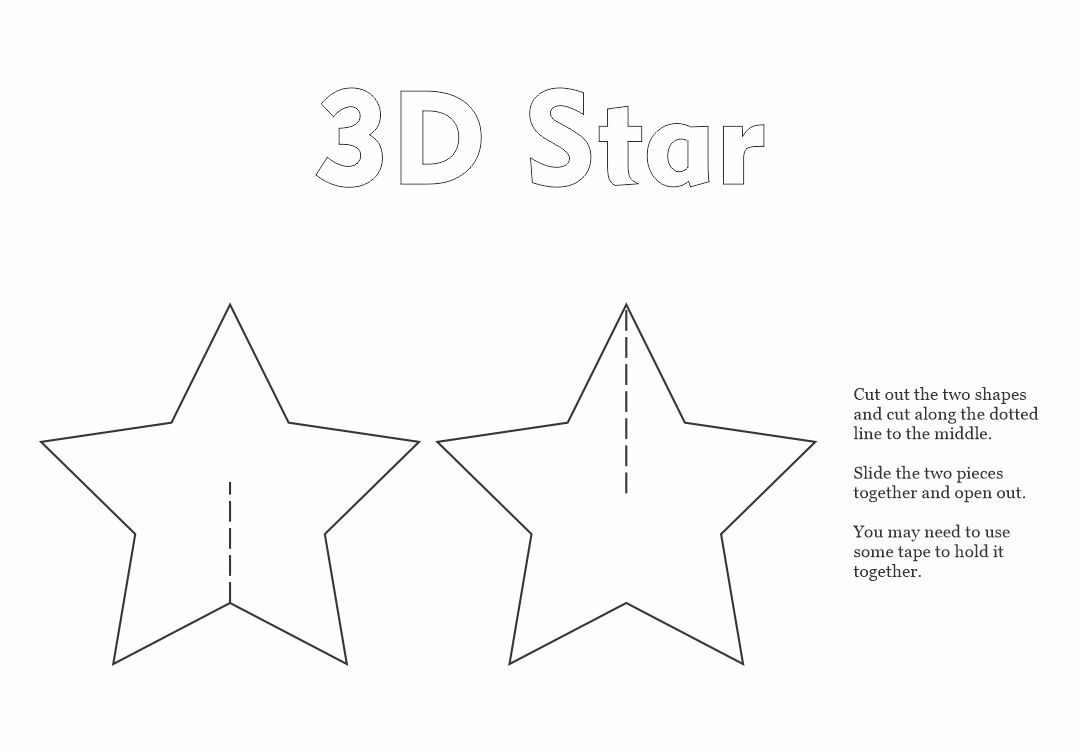 5 best images of 3d star printable template 3d christmas star