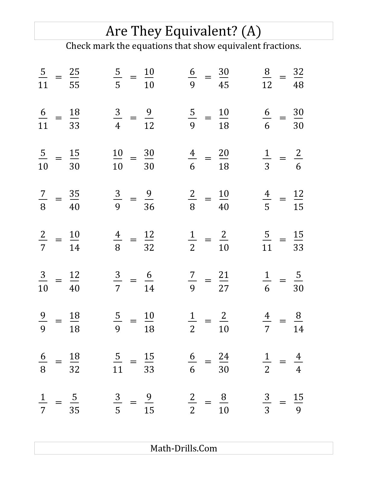 5 Best Images Of Equivalent Fraction Test Printable