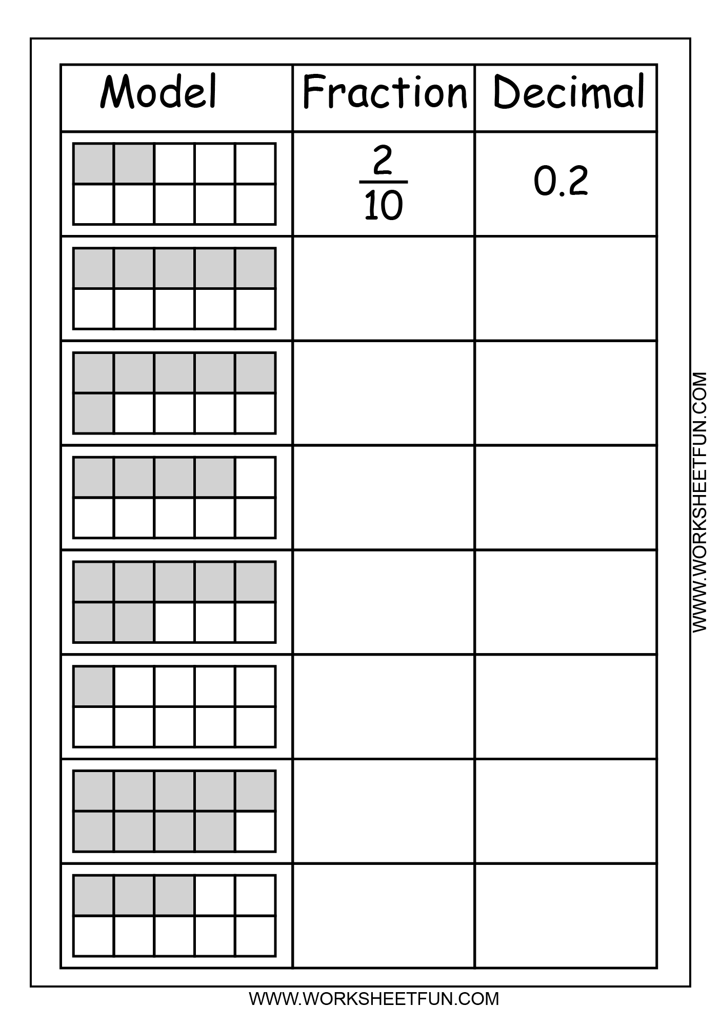 6 Best Images Of Fraction To Decimal Chart Printable