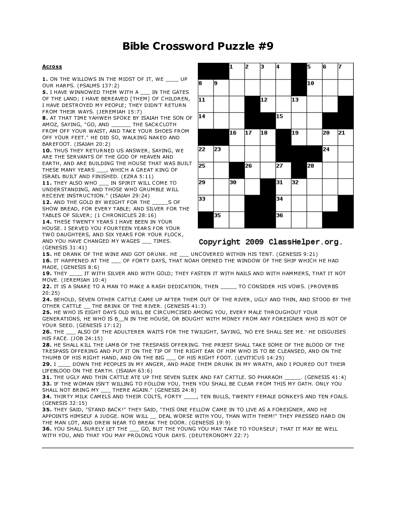 4 Best Images Of Free Printable Biblical Crossword Puzzles