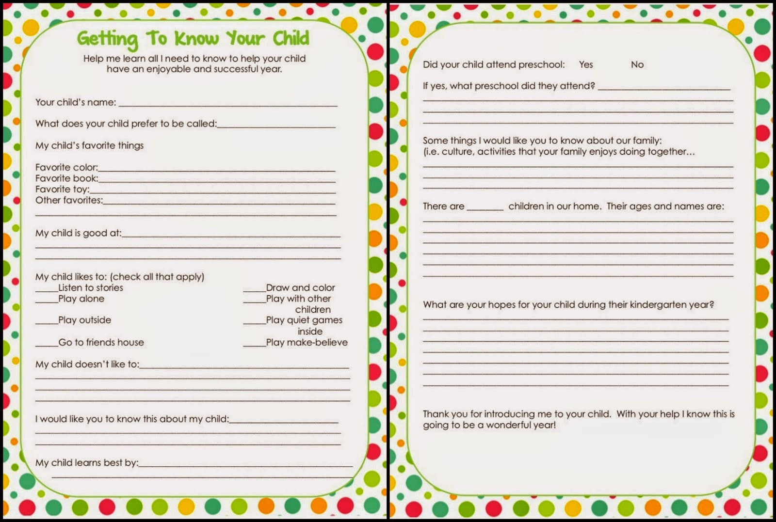 6 Best Images Of Getting To Know Student Printable