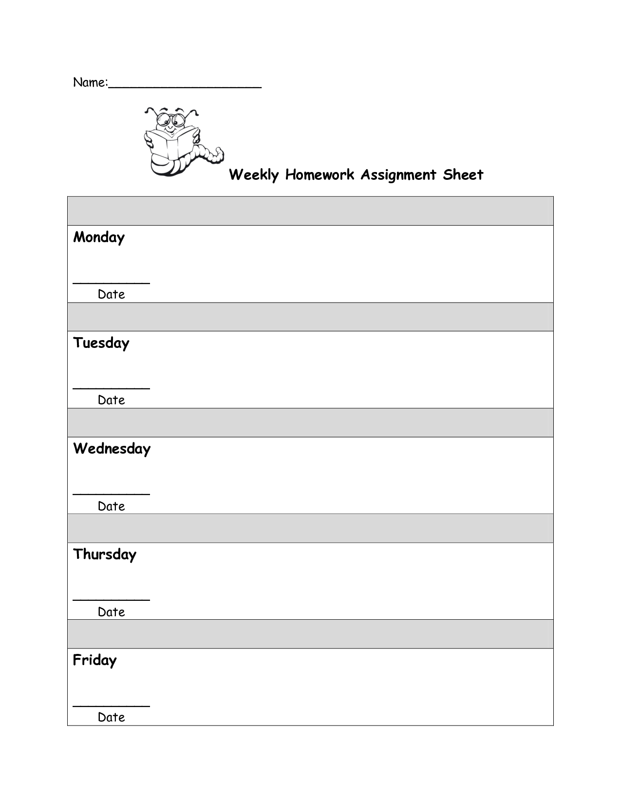 Daily Homework Sheet
