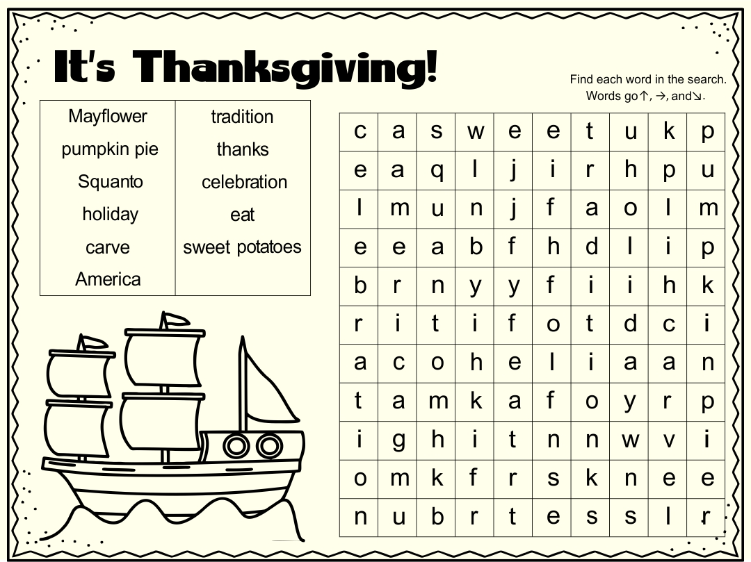 8 Best Images Of Free Thanksgiving Printable Word Finds