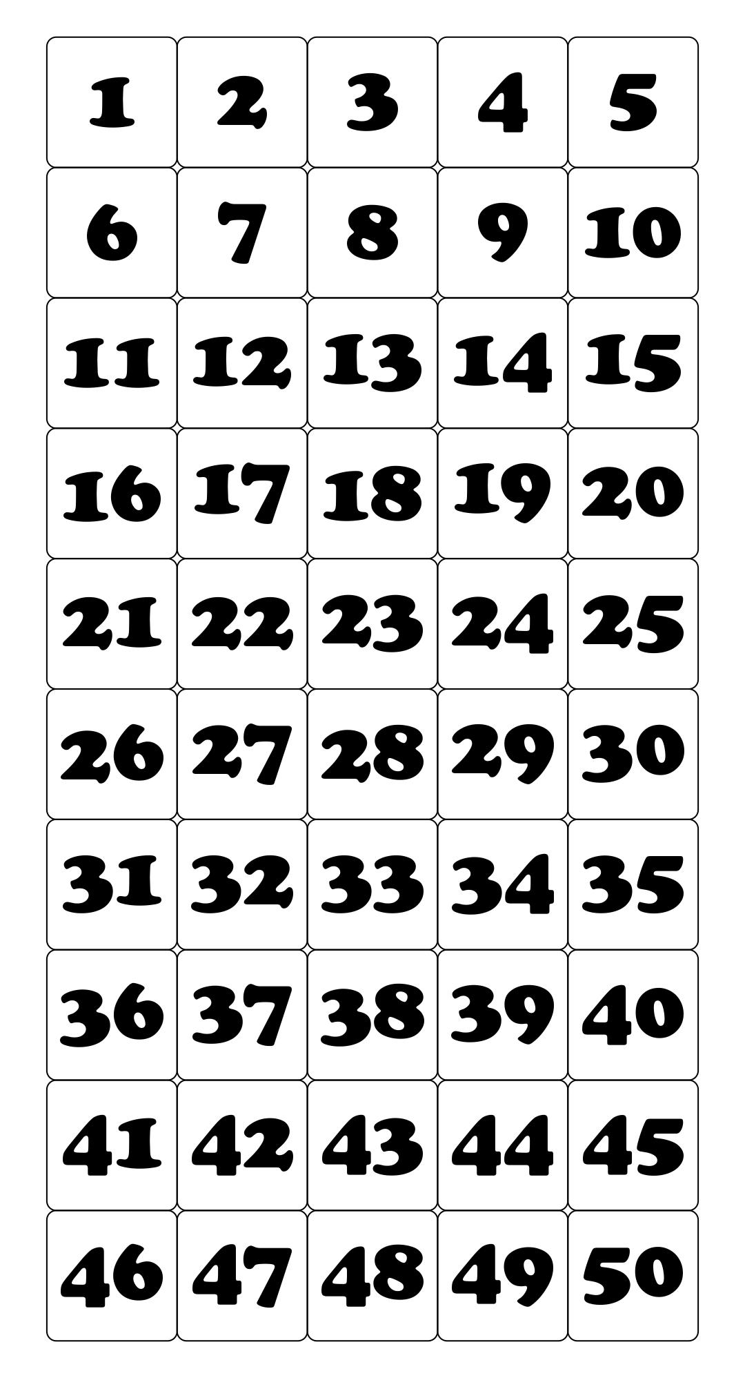 6 Best Printable Number Grid 1 50