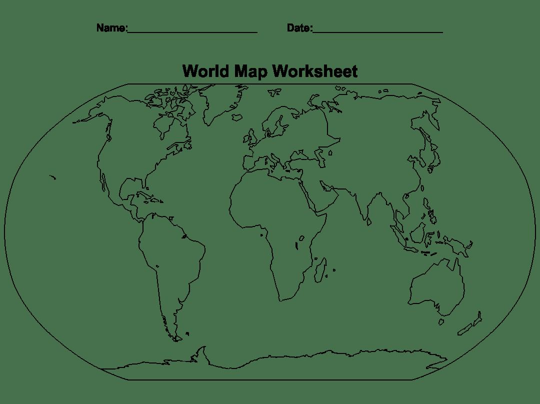 5 Best World Map Worksheet Printable