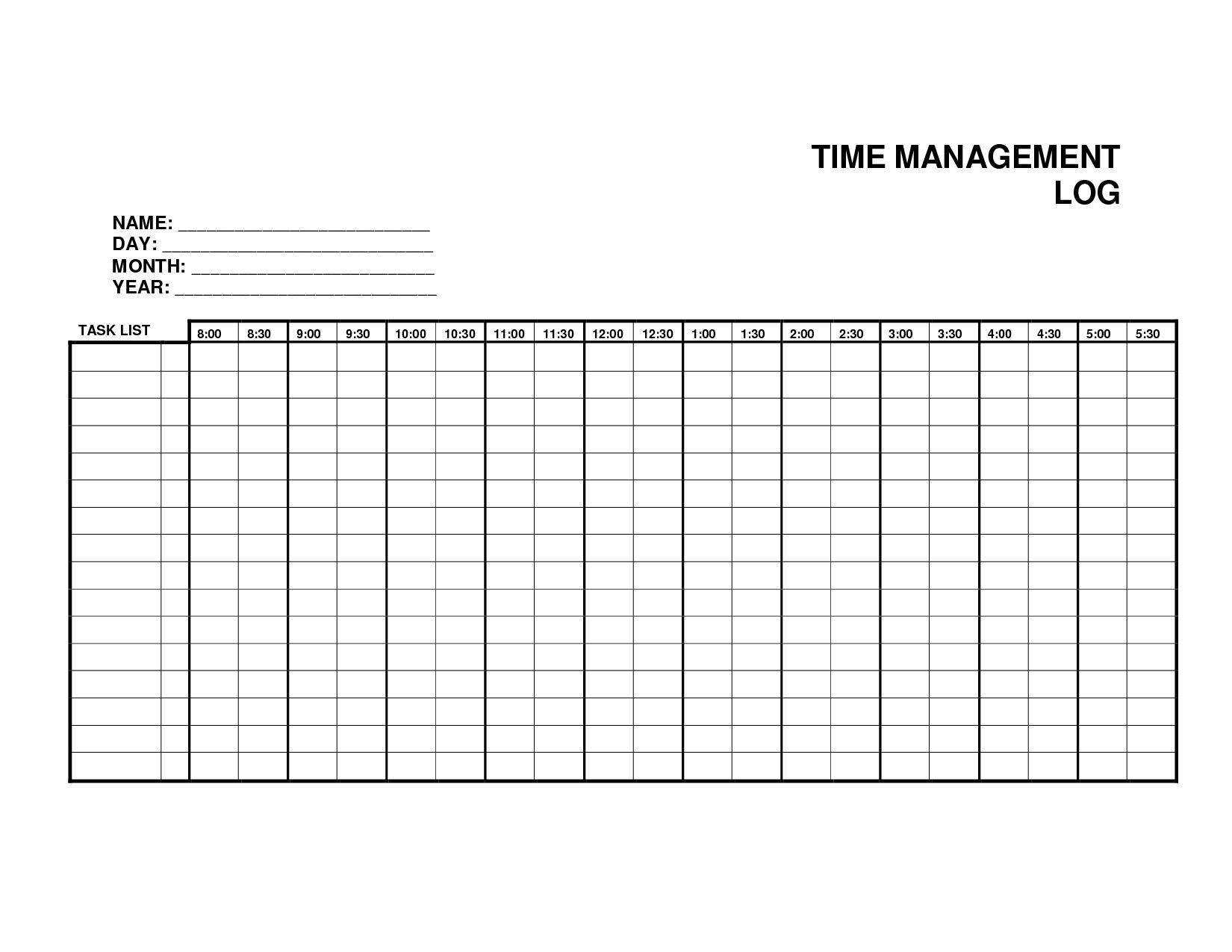 10 Best Images Of Printable Time Management Log