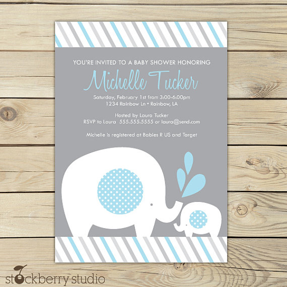 elephant baby shower invitation invite boy invitations blue