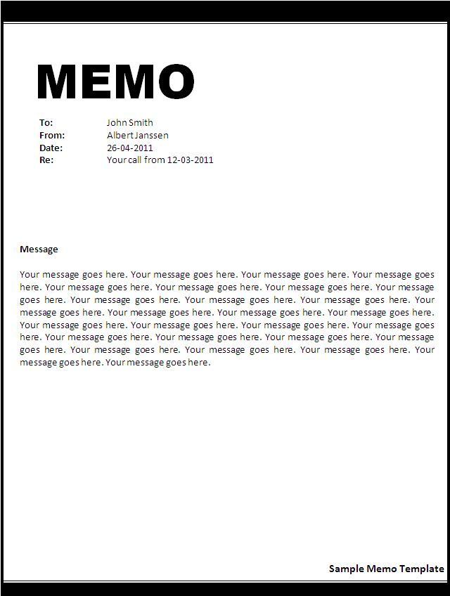 Doc.#495640: Memo Template Free – Free Memorandum Template Sample ...