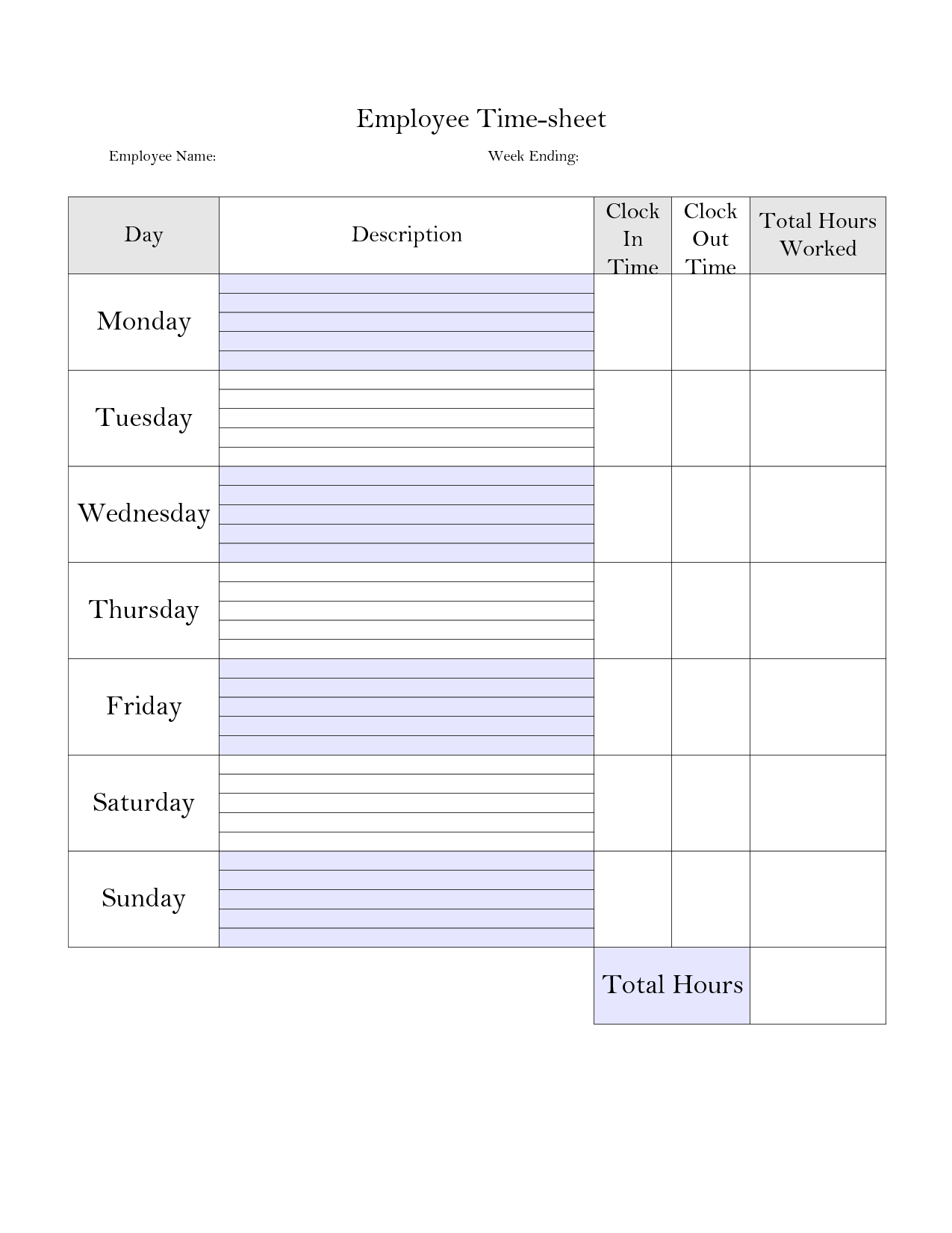 5 Best Images Of Printable Employee Time Card Template