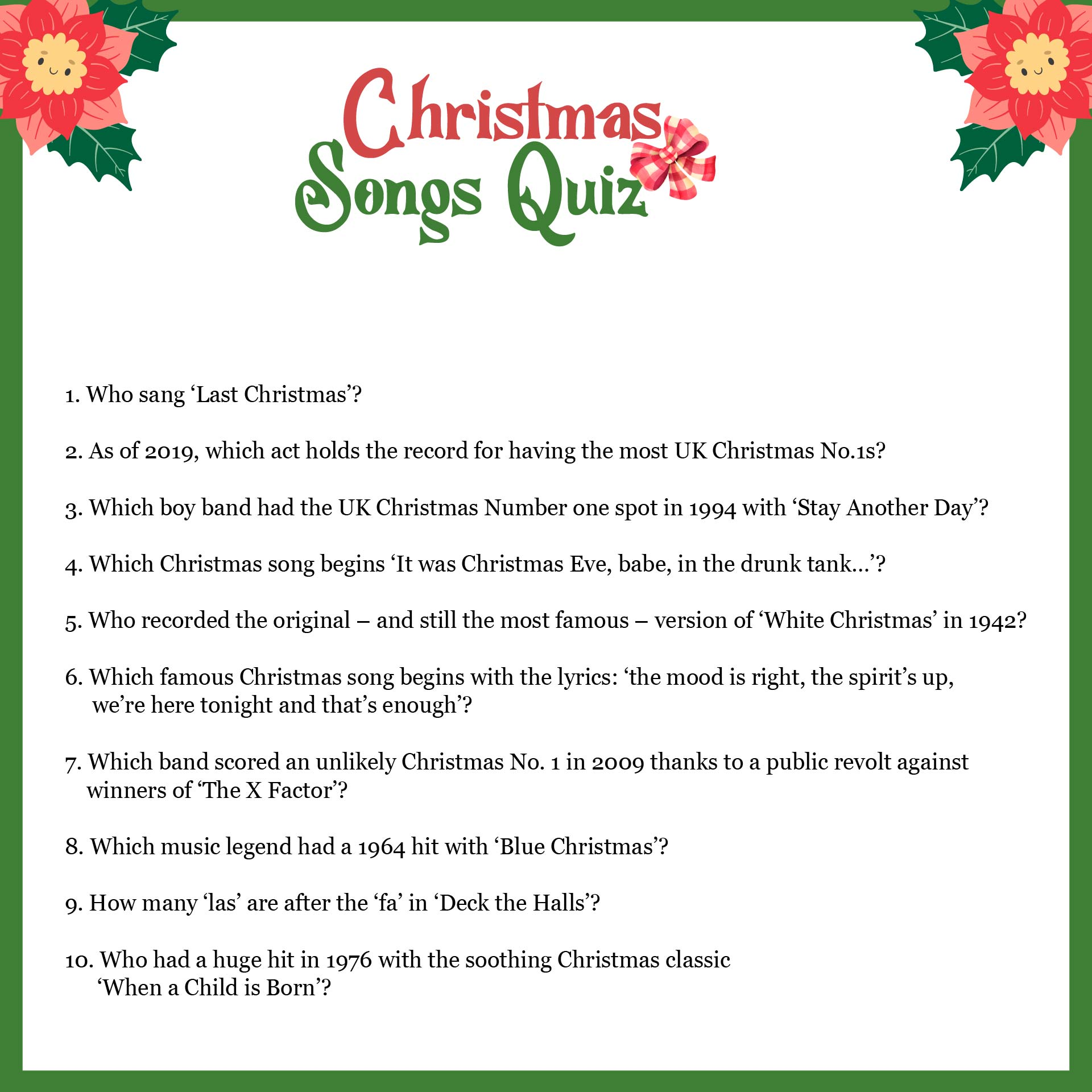 4 Best Images Of Free Printable Christmas Carol Trivia