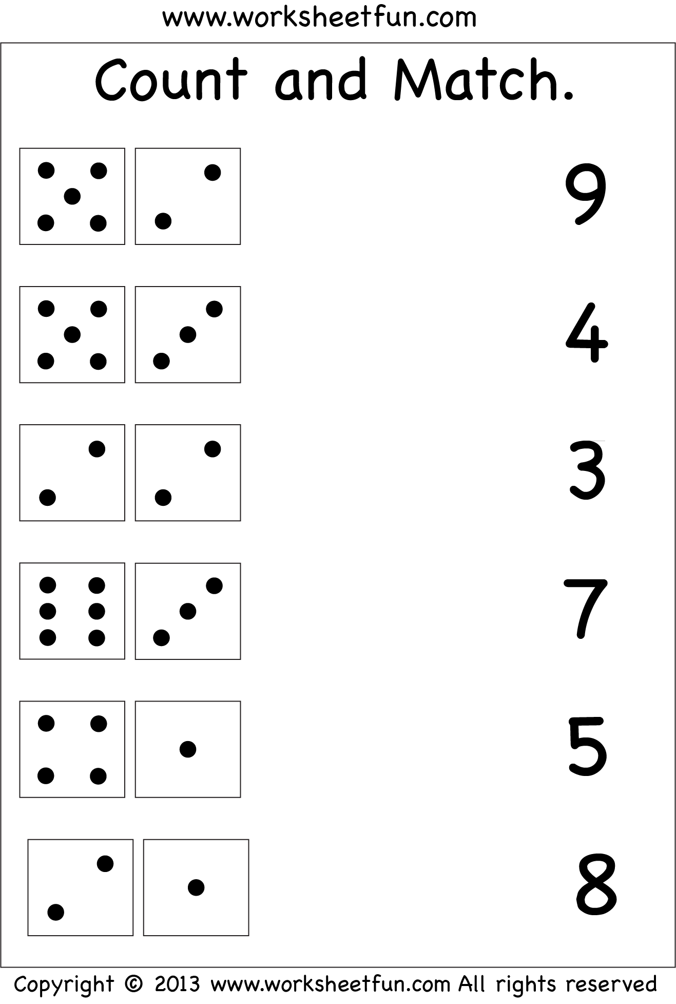 Matching Numbers Puzzle Worksheet