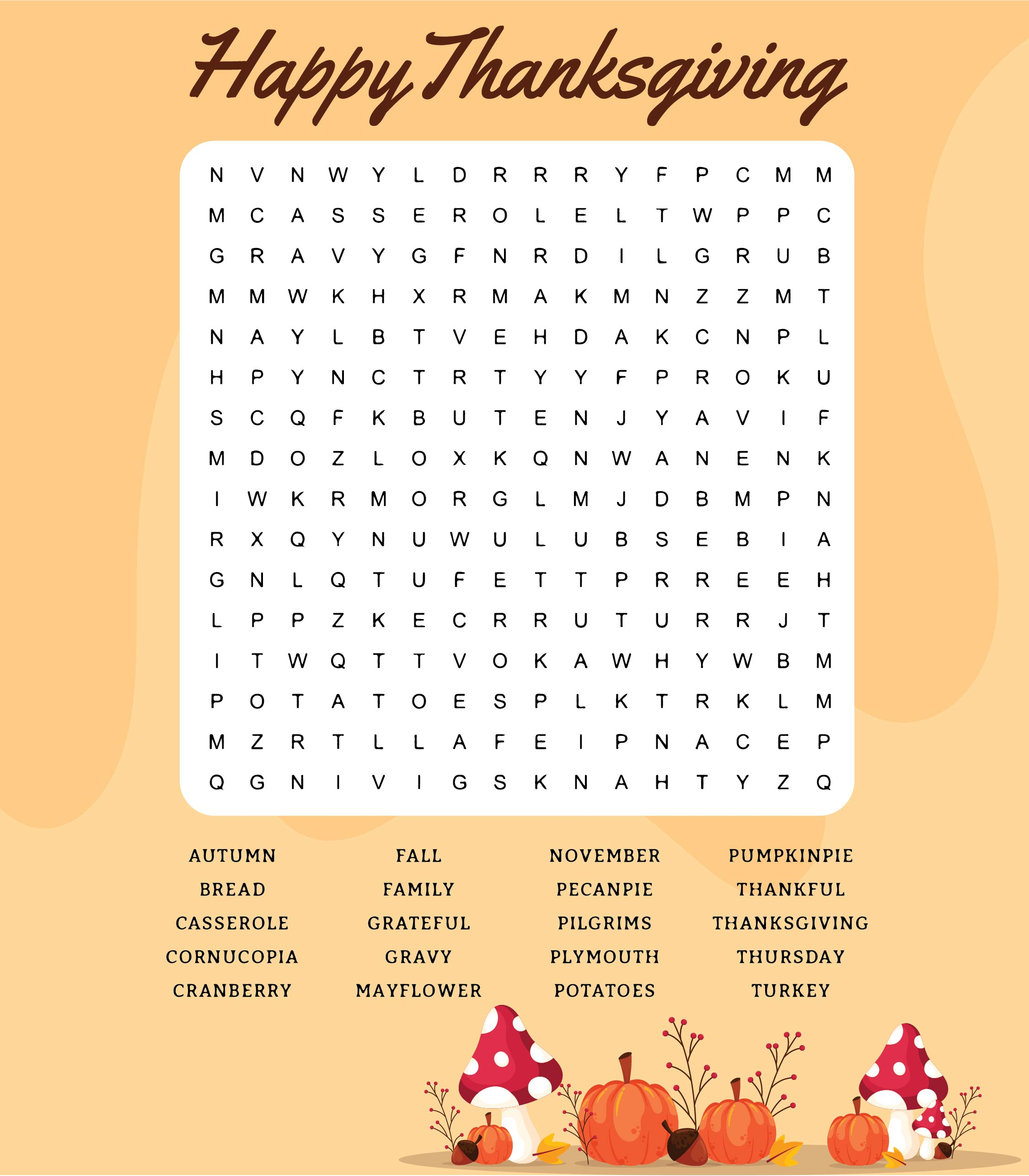5 Best Printable Thanksgiving Puzzles Word Searches For