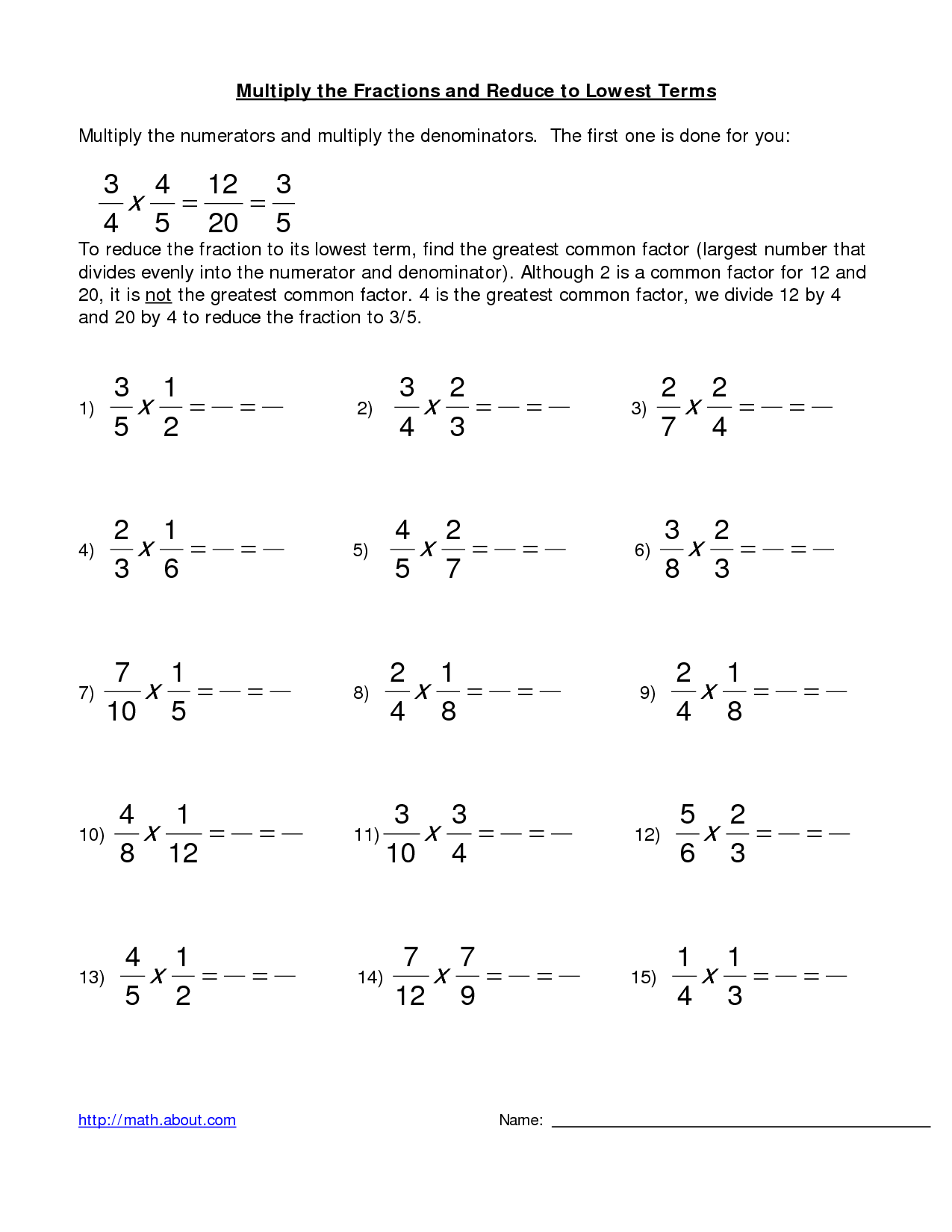 3 Best Images Of Multiplying Fractions Worksheets 4th