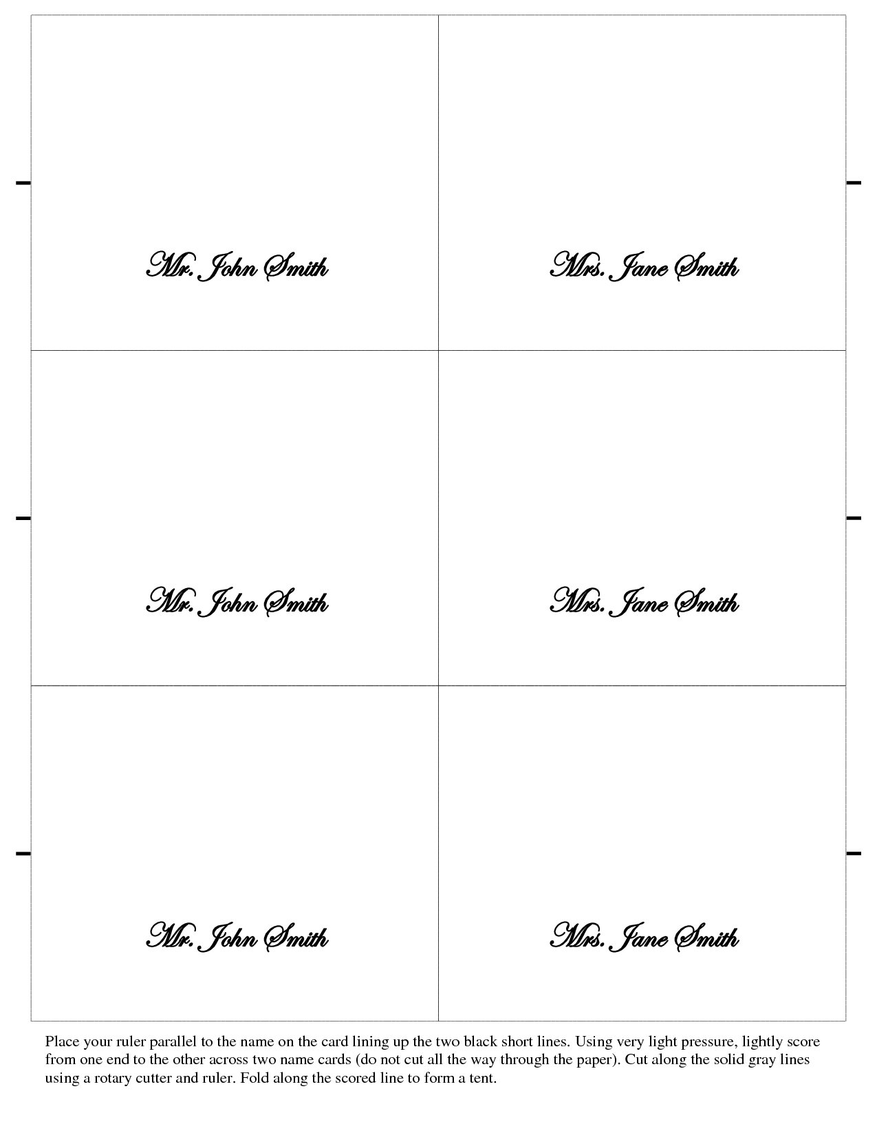 Wedding Place Card Templates. printable place card template ...