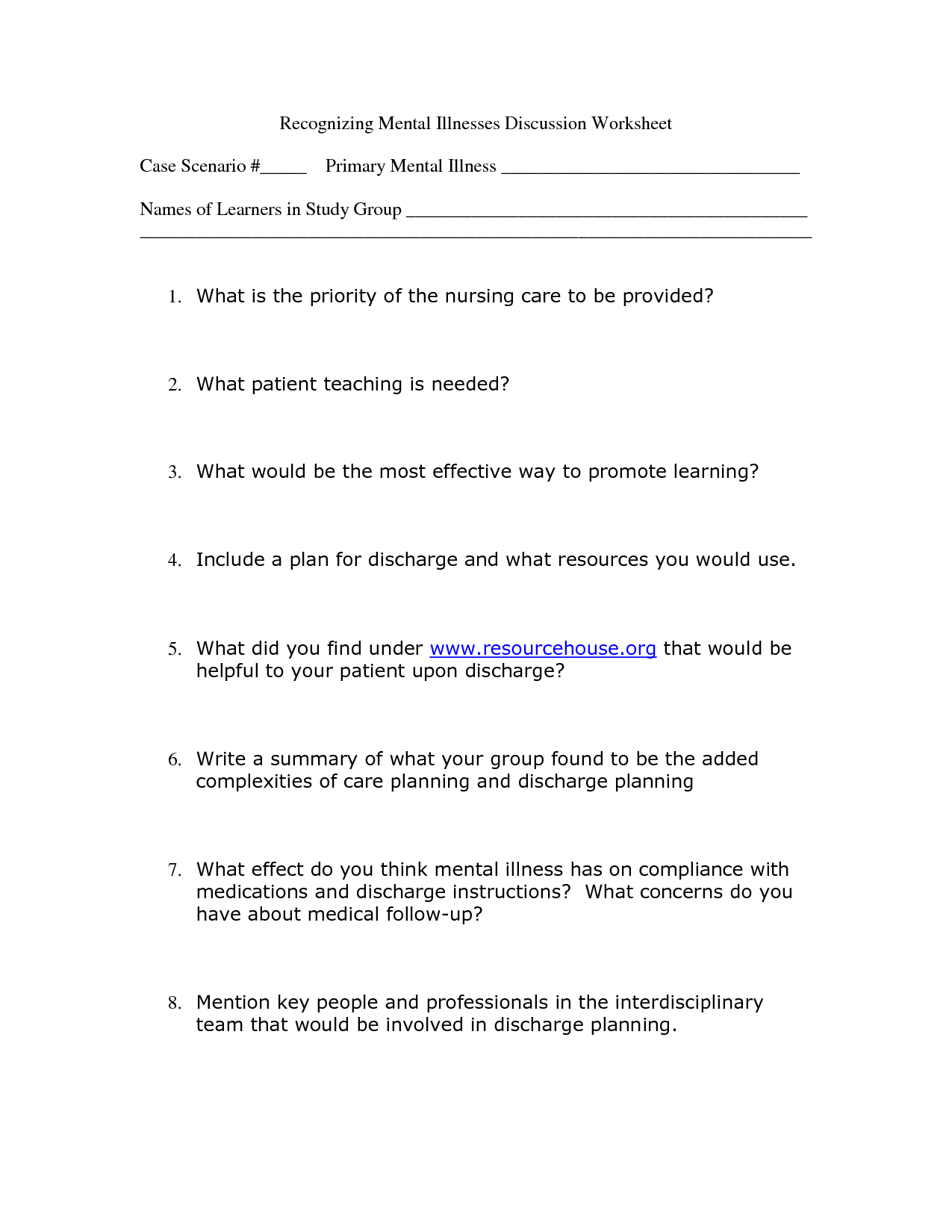 Printables Mental Health Group Worksheets Kigose Thousands Of Printable Activities