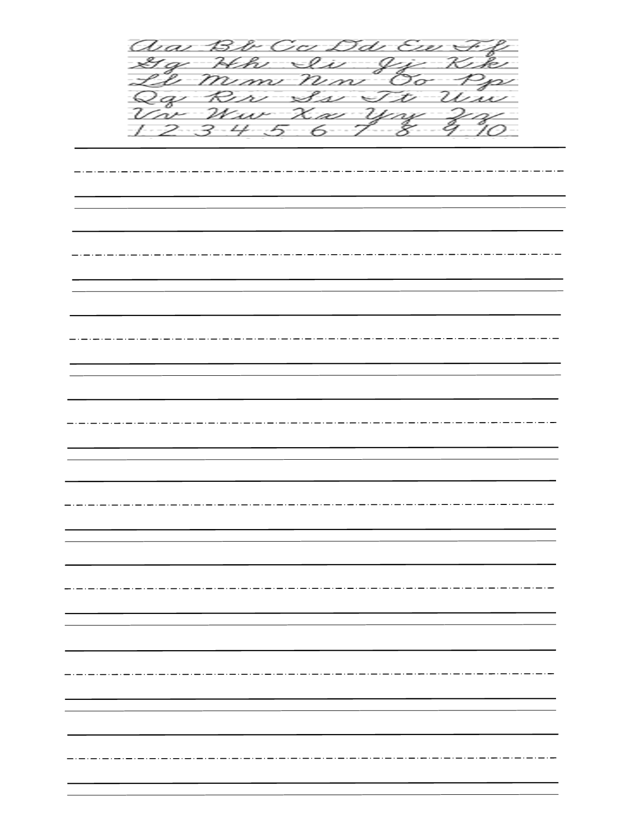 Free Cursive Writing Pages