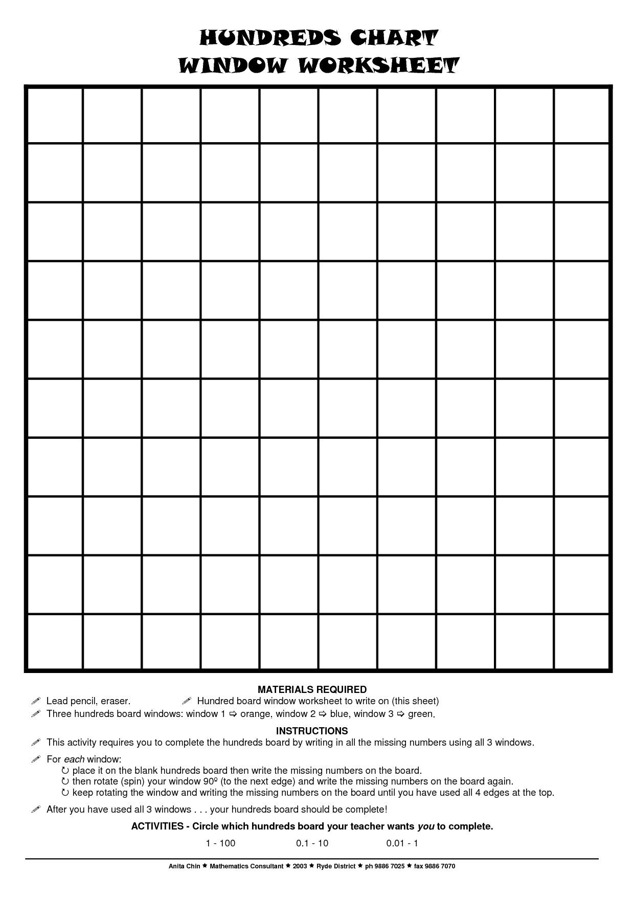 2 Best Images Of Printable Blank 100 Hundreds Chart