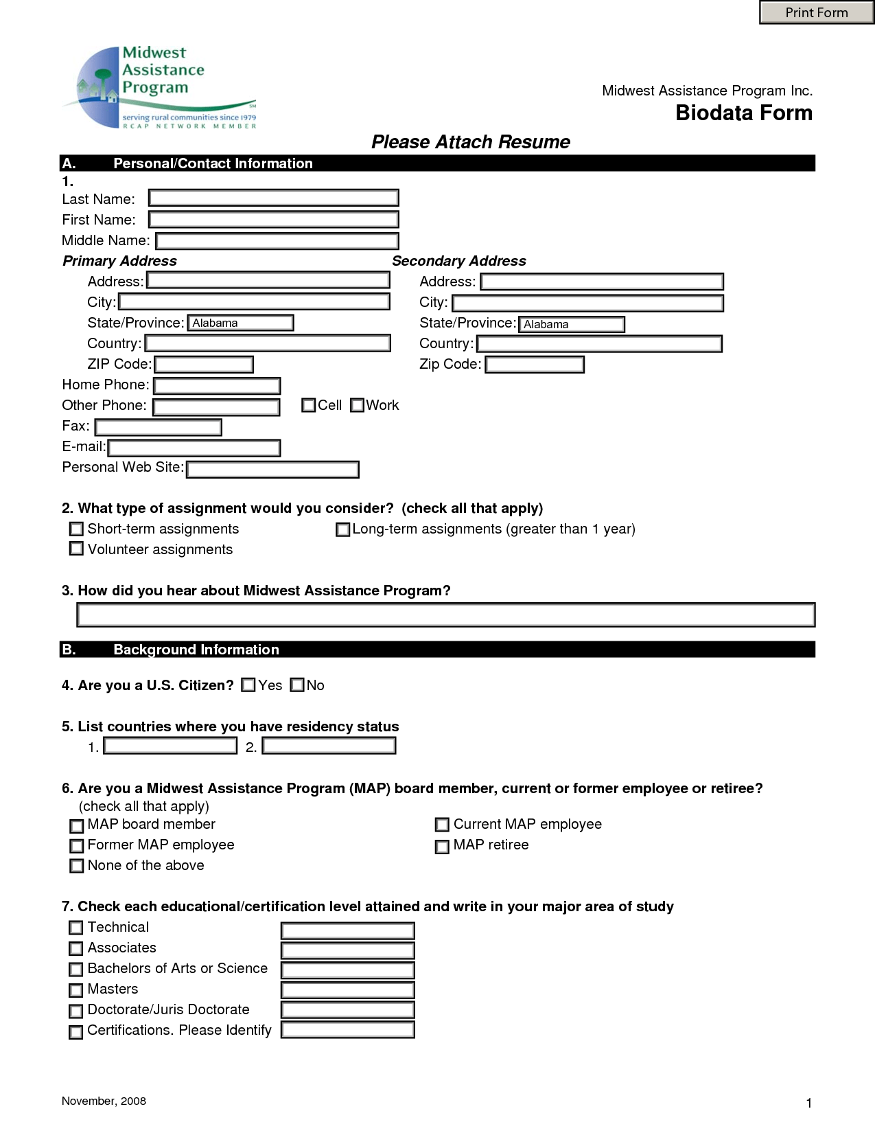 Free Resume Forms Printable Job Application Form Free Pdf