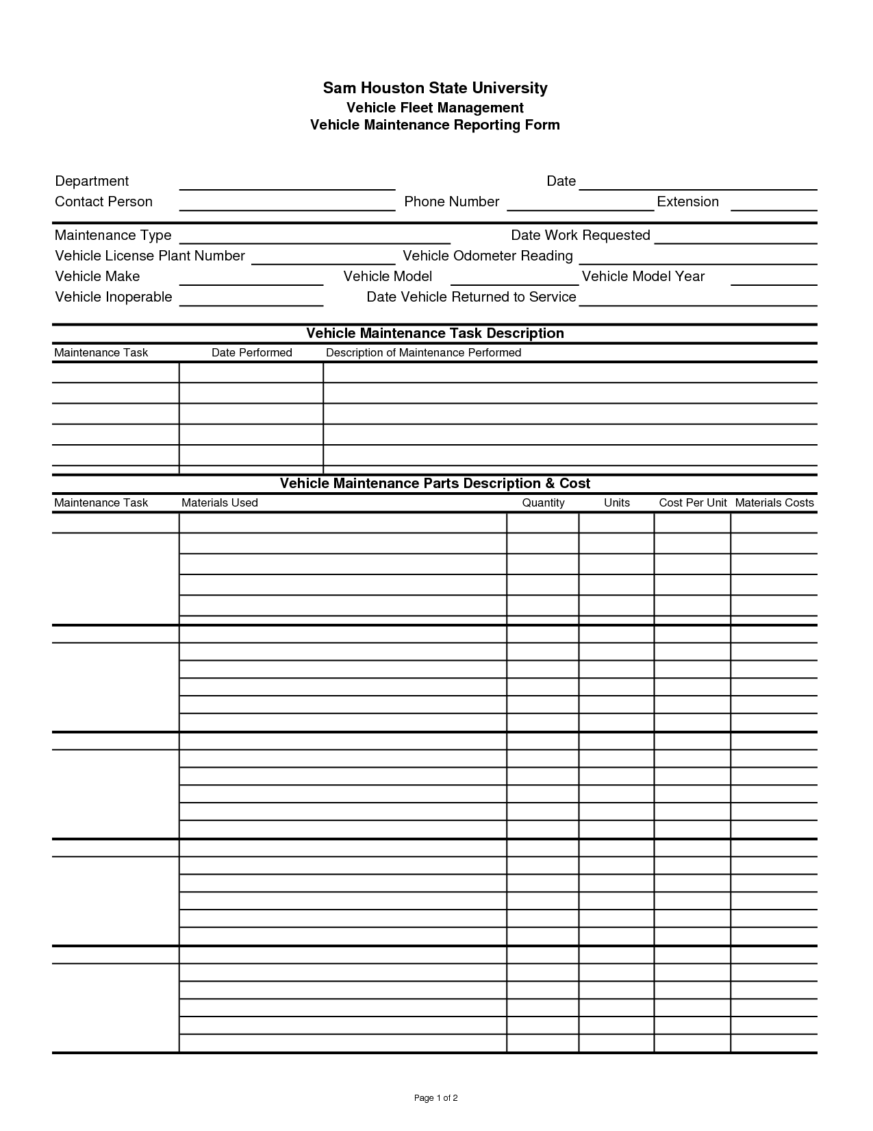 5 Best Images Of Printable Vehicle Maintenance Logs Sheets