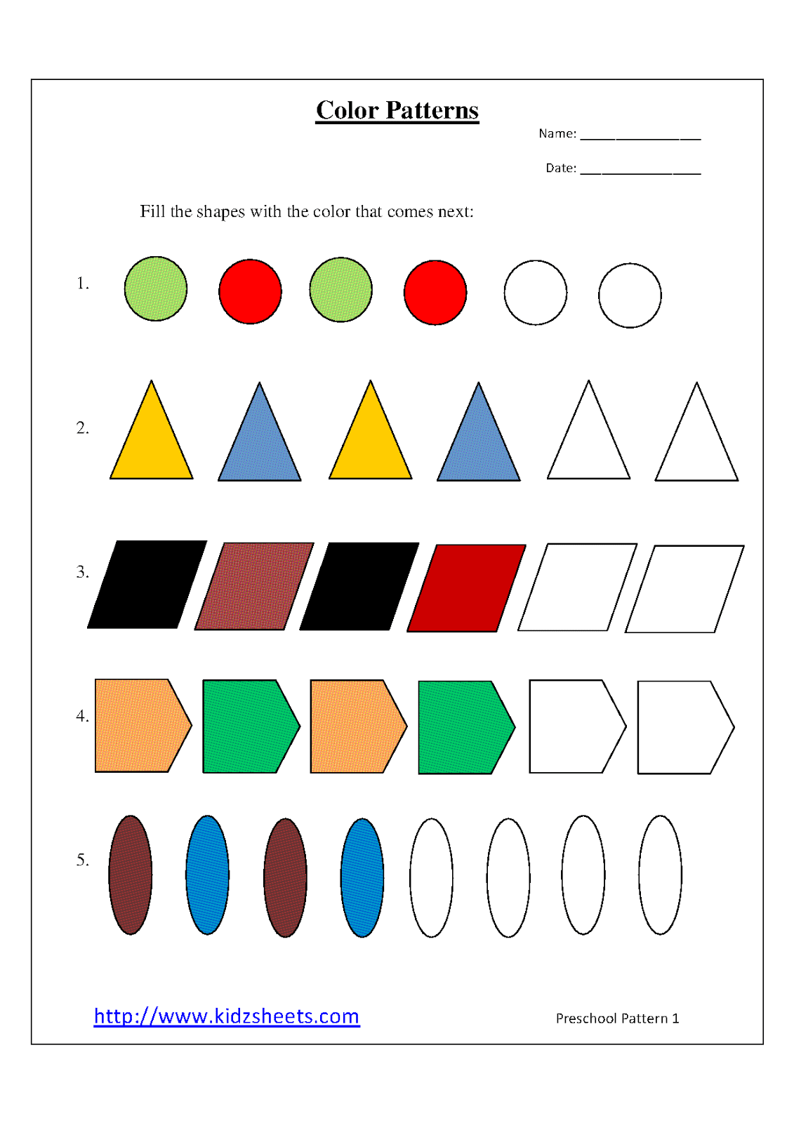 5 Best Images Of Patterns Preschool Printable