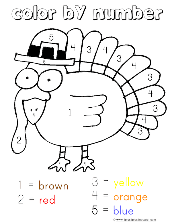 thanksgiving color by number coloring pages printable thanksgiving