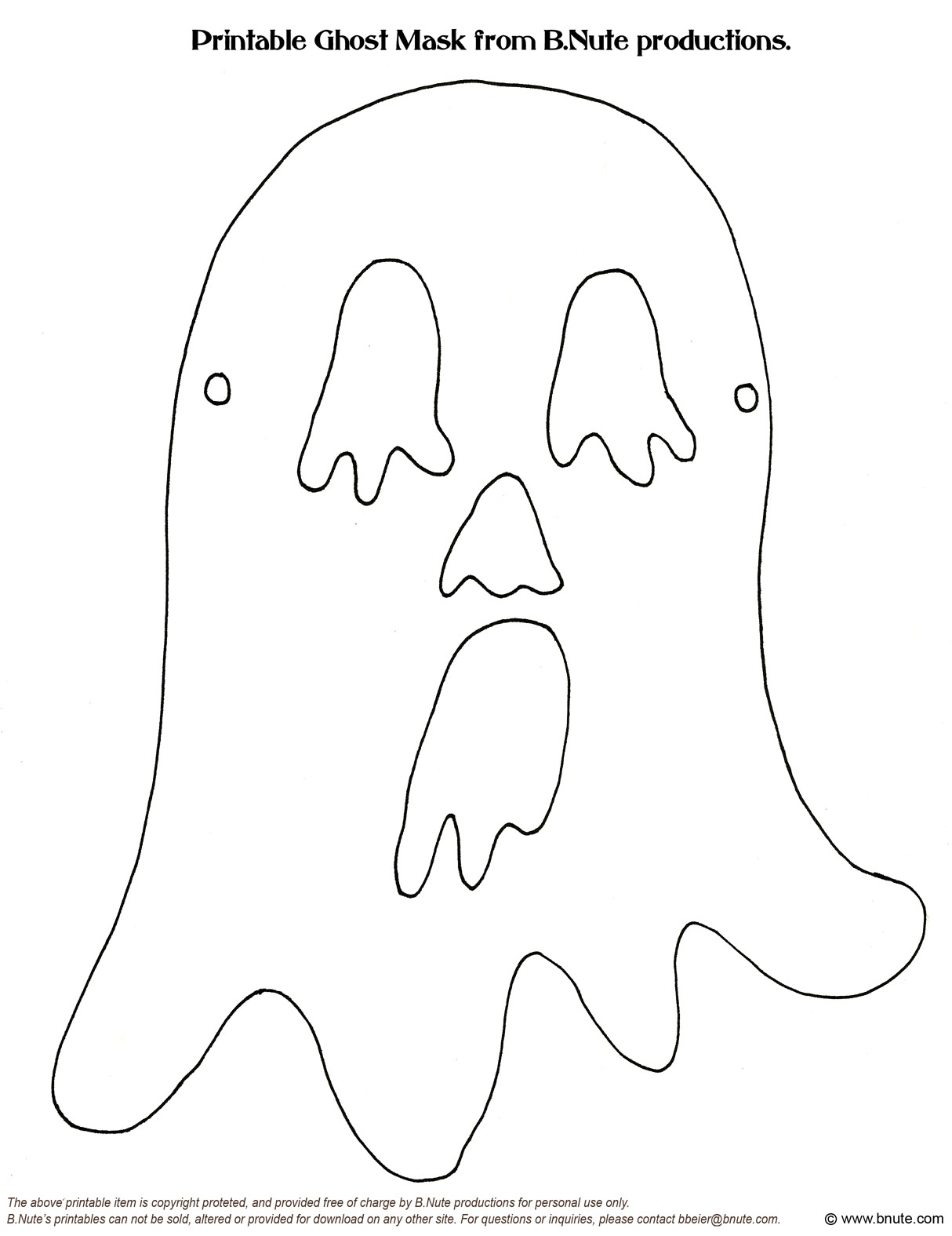 6 Best Images Of Ghost Mask Template Printable
