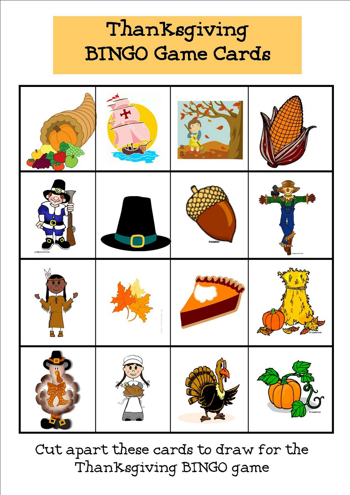 Thanksgiving Bingo Board No2 Coloring Page