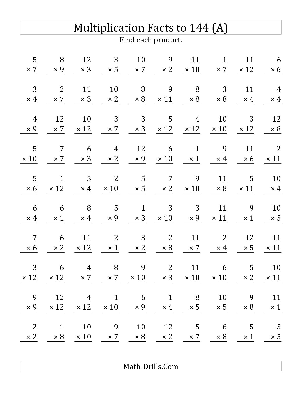 Multiplication Facts Worksheets 1 12