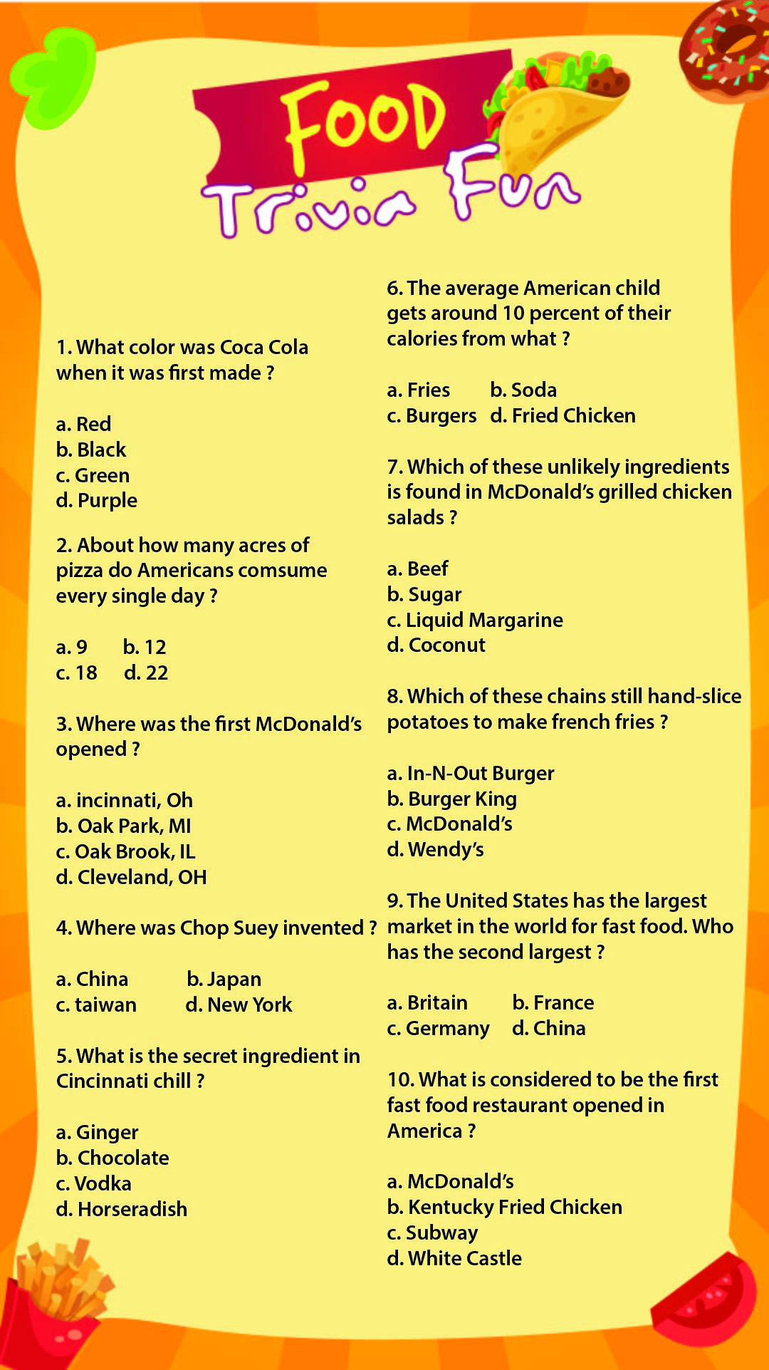 7 Best Printable Food Trivia Questions