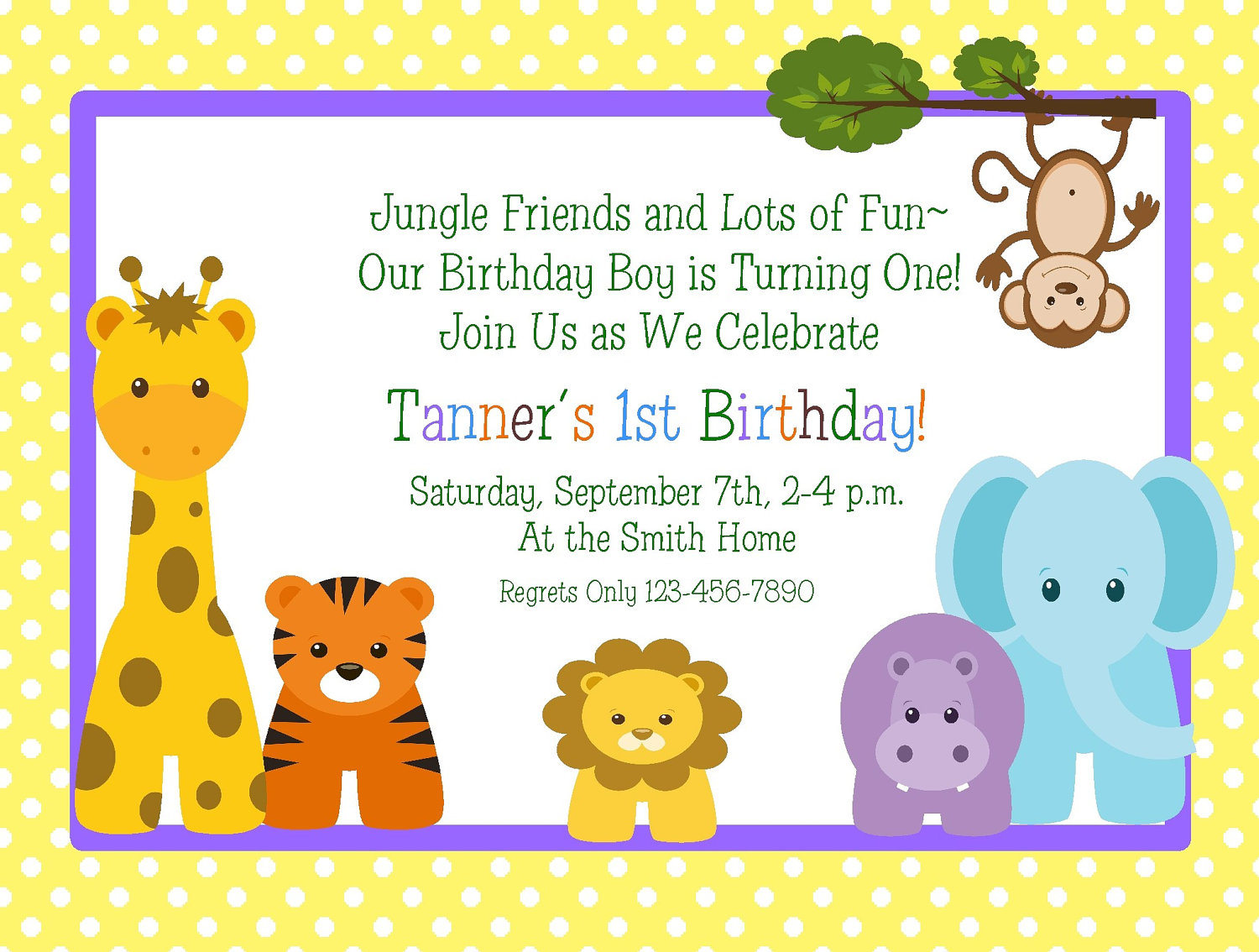 greeting cards party supply printable boys birthday invitation photo letters jungle animals any age 1st csr 3xr dk