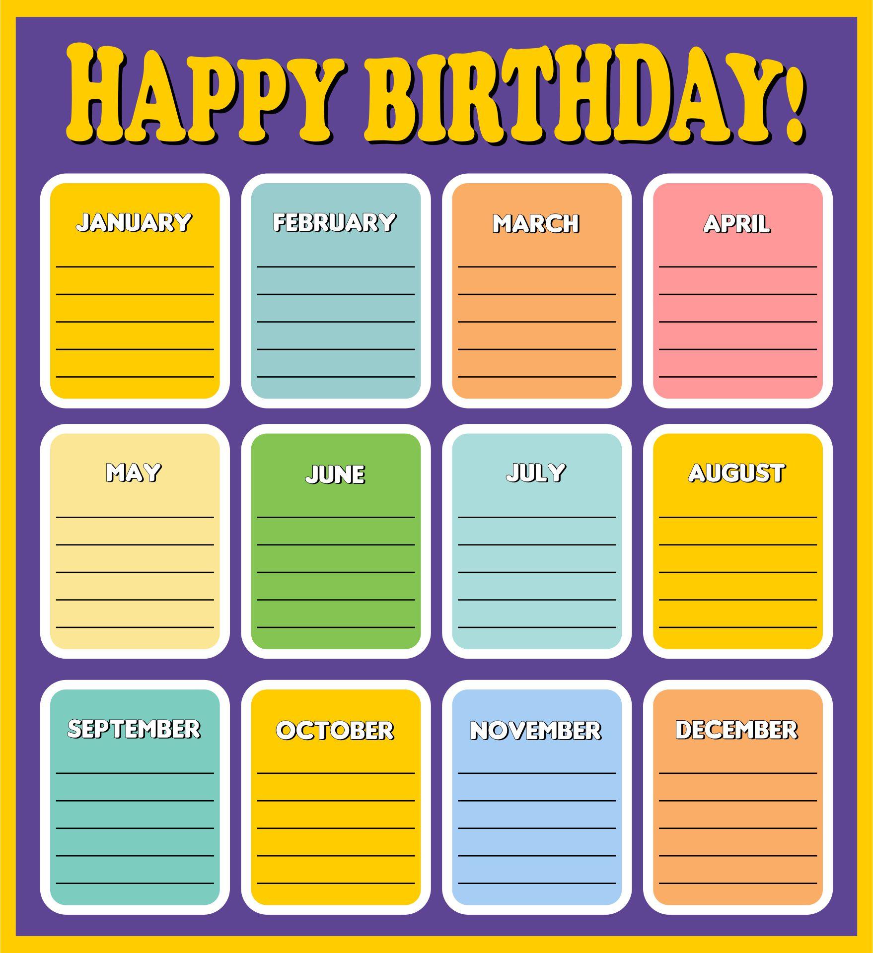 Preschool Happy Birthday Chart