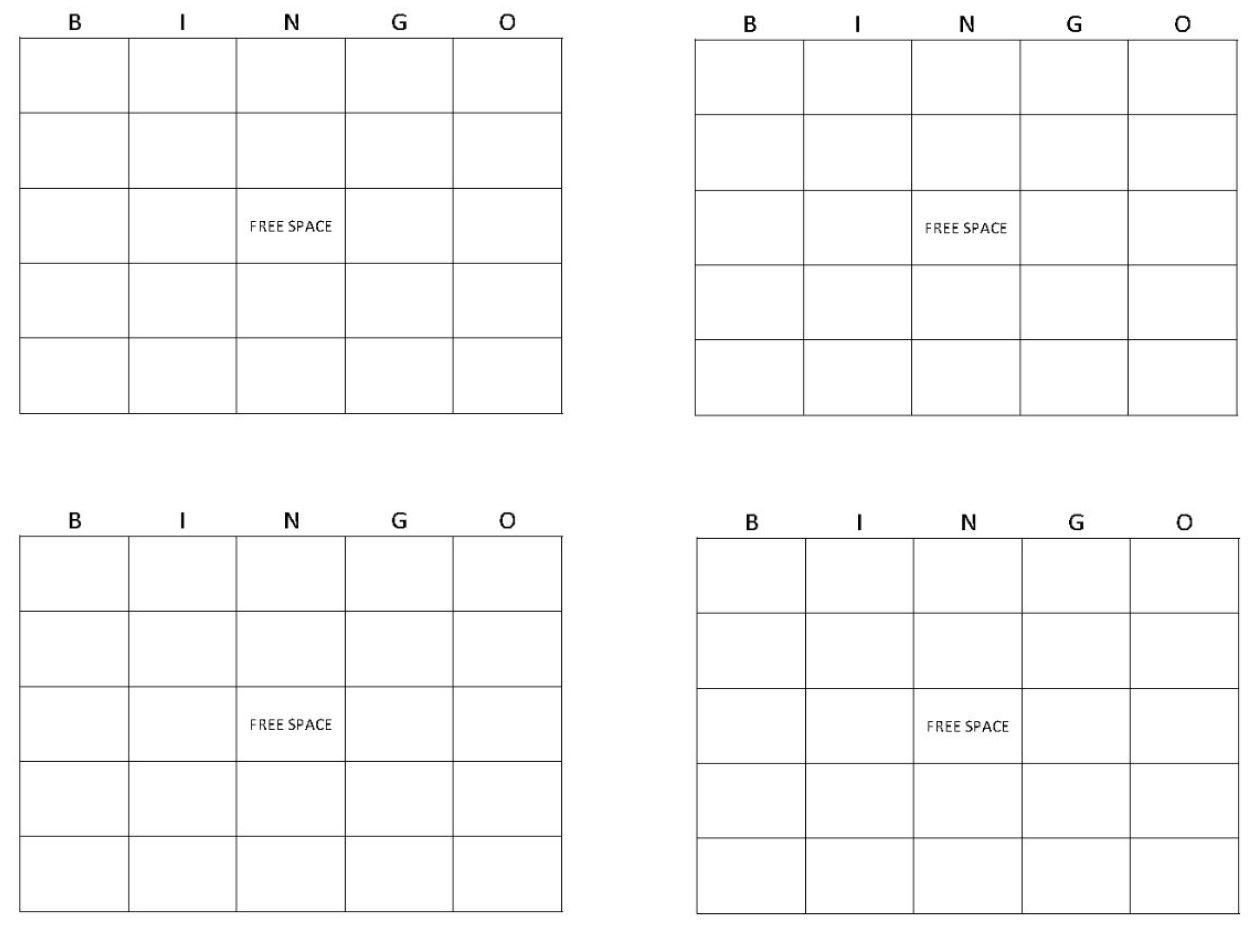Blank Bingo Board Template Free Blank Printable Bingo Cards Bridal