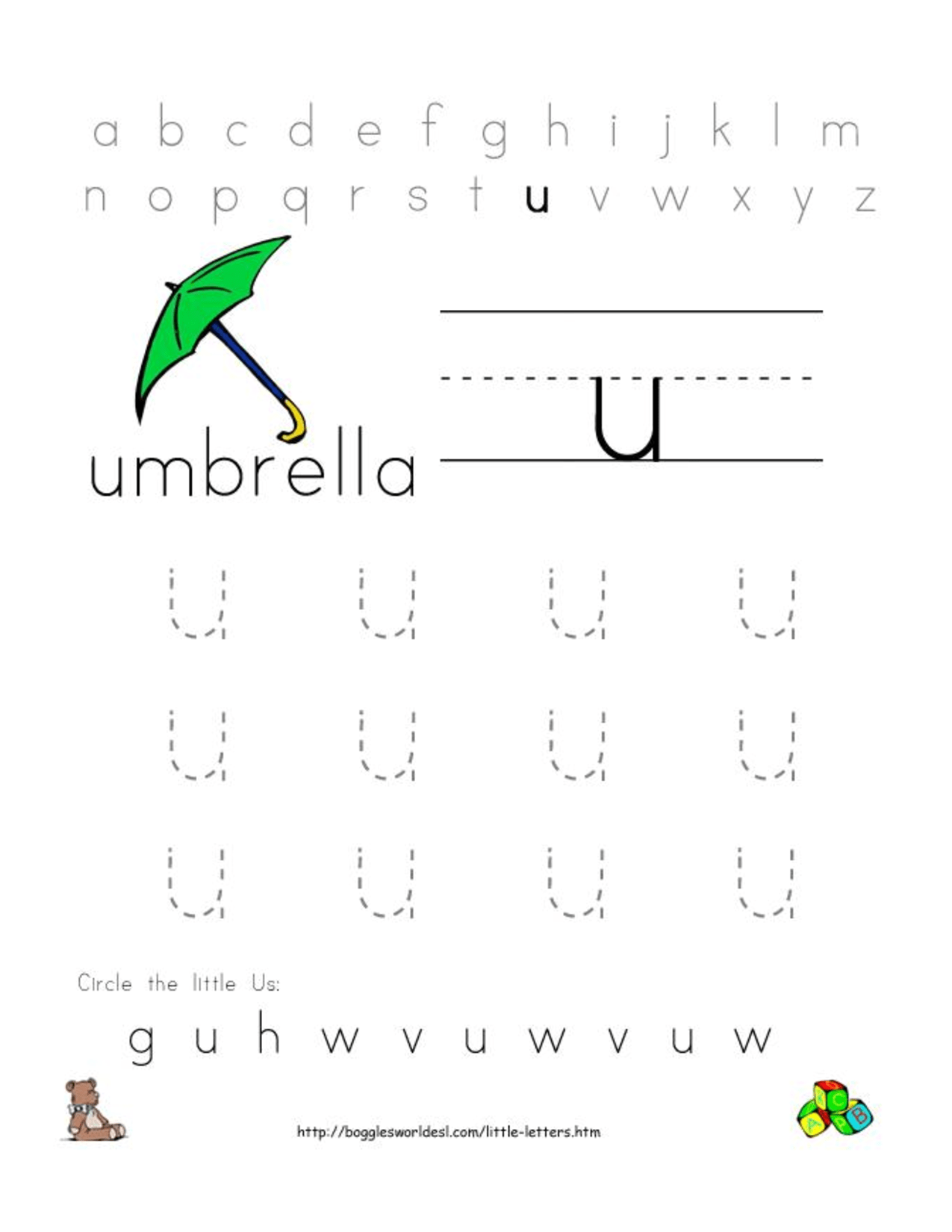 6 Best Images Of Preschool Letter U Printables